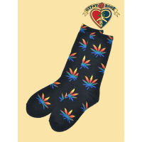 Holy Smokes Rainbow Hemp Leaf Tall Socks