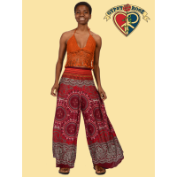 Sweet Gypsy Woven Waist And Printed Rayon Curved Flare Leg Pants