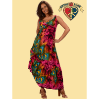 Free Lovin Feather Print Rayon Long Dress