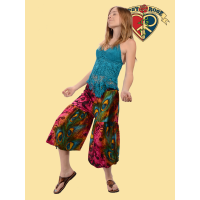 Free Lovin Feather Print Rayon 2 Way Palazzo/Harem Pants