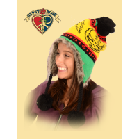 GRATEFUL DEAD FLAP STEAL YOUR FACE RASTA HAT