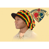 RASTA COLORS OVERSIZED DREADIE CROCHET APPLE JACK HAT