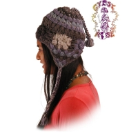 WINTERLAND FLEECE-LINED CROCHET THICK FLOWER FLAP HAT