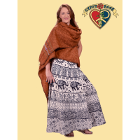 Foggy Mountain Brushed Blanket Wrap Shawl w/ Stitched Details