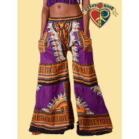 Groovin Dashiki Print Cotton Tiered Flare Pants