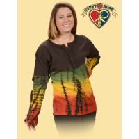 Northern Lights Rasta Stonewash Crepe Long Sleeve Tye Dye & Embroidered Kurta
