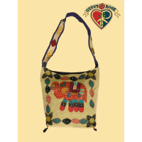 Walk This Way Stonewashed Patchwork Cotton Lucky Elephant Bag