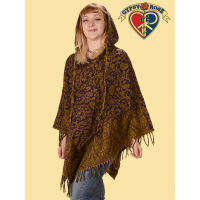 Haight Street Brushed Acrylic Fringed Paisley Print Reversible Hooded Cape