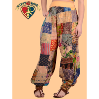 Band On The Run Yoga Waistband Patchwork Printed Cotton Harem Pants