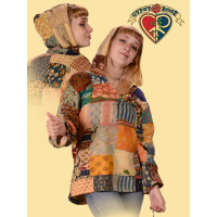 Sitting On The Dock Of The Bay Patchwork Printed Cotton Ladies' Hoodie