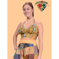 Feeling Groovy Printed Cotton Halter Top