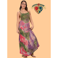 Layla Cotton Crepe Tye Dye Long Dress   Extra Large