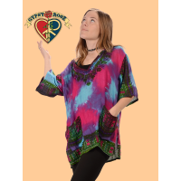 Funkadelic Tye Dye Lightweight Cotton Dashiki Print Short Sleeve Shirt