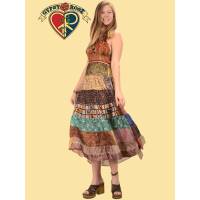 Whispering Wind Recycled Sari Halter Style Tiered Long Dress