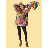 Whispering Wind Patchwork Recycled Sari Hoodie