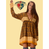 Whispering Wind Recycled Sari Long Sleeve Tie Back Mini Dress