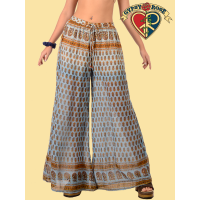 Around The Fairgrounds Dip Dyed Printed Cotton Cheesecloth Wide Leg Pants