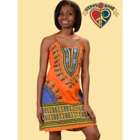Summertime Blues Dashiki Print Cotton Mini String Dress