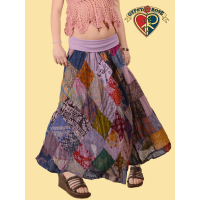 Summer In The City Overdye Cotton Print Diamond Patch Skirt w/ Super Comfy Waistband S/M Petite Length