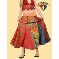 Sweet Spinner Girl Printed Cotton Patchwork Skirt w/ Super Comfy Waistband S/M Petite Length