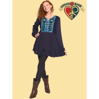 Long Sleeve Embroidered and Mirror Work Peasant Flare Blouse