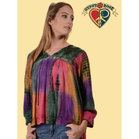 Ooh Child Tye Dye Rayon Embroidered Blouse