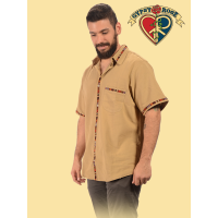 Mayan Marvels Short Sleeve Button Down Men's Cotton Shirt
