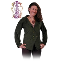 LONG SLEEVE CORDUROY JACKET WITH EMBROIDERED FLOWERS