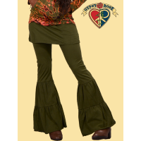 Tribal Style Cotton Pants w/ Skirt and Pleated Leg Flares