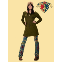 Aquarian Cotton Long Sleeve Dress w/ Leaf Design