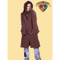 LONG FLEECE COAT WITH POINTED HOOD