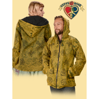 Namaste Unisex Stonewashed & Block Print Fleece-Lined Heavy Cotton Hooded Zip-Up Coat