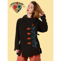 EMBROIDERED LEAFY APPLIQUE FLEECE WRAP JACKET