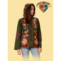 EMBROIDERED FLOWERS WITH LEAVES APPLIQUE ZIP UP HOODIE