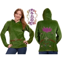 LOTUS OF LOVE BLANKET STITCH VELOUR HOODIE