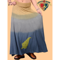 Back To The Garden Spandex Blend Dip Dye Long Skirt with  Fern Applique