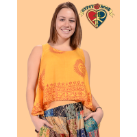 Om Shanti Printed Cotton Crop Tank Top