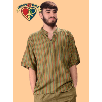 Soul Man Striped Cotton Short Sleeve Men's Shirt