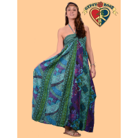 Free Falling Printed Cotton Halter Maxi Dress