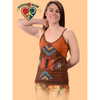Rising Sun Stonewash Cotton Tank Top with  Applique