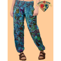Free Falling Printed Cotton Patchwork Harem Pants
