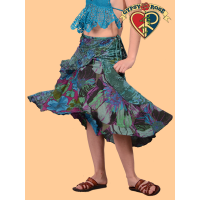 Free Falling Printed Cotton Swirl Mid Length Wrap Skirt