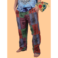 Everyday People Men's Patchwork Cotton Pants with Block Print