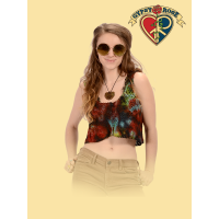 Summer Of Love Tye Dye Crochet Button-Up Halter Top