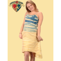 On The Beach Crochet Trim Angled Layer Tye Dye String Dress