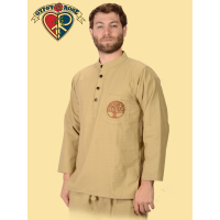 Mother Forest Hand Embroidered Pocket Cotton Henley Shirt