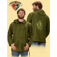 Green Man Hand Embroidered Heavy Cotton Hoodie