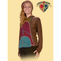 Love & Peace Applique Cotton Hoodie