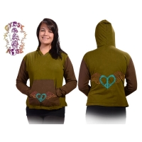 Gathering Winged Peace Heart Applique Cotton Hoodie