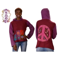 Gathering Patchwork & Handstitch Cotton Hoodie with Peace Applique